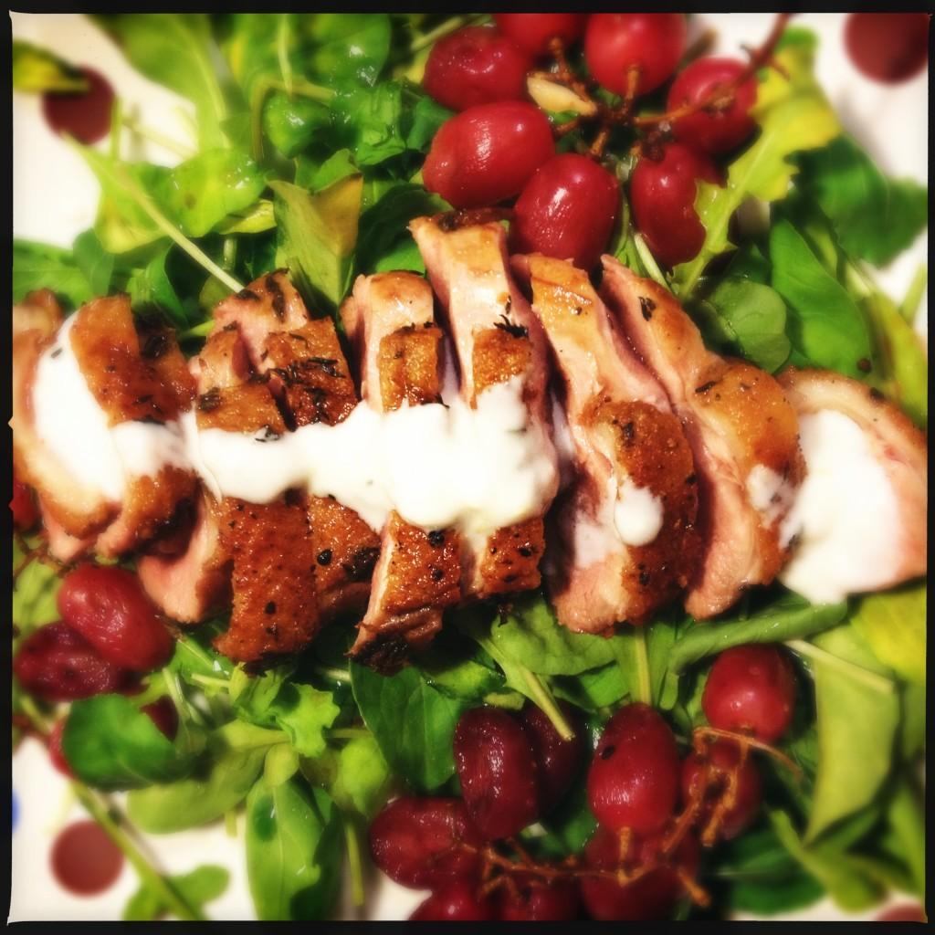 salada de peito de pato e uvas assadas – pro dia a dia metido a besta