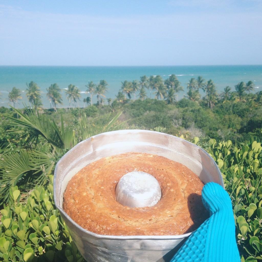 bolo de banana na praia