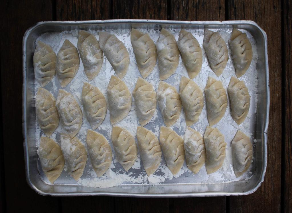 dumplings de acelga e shitake