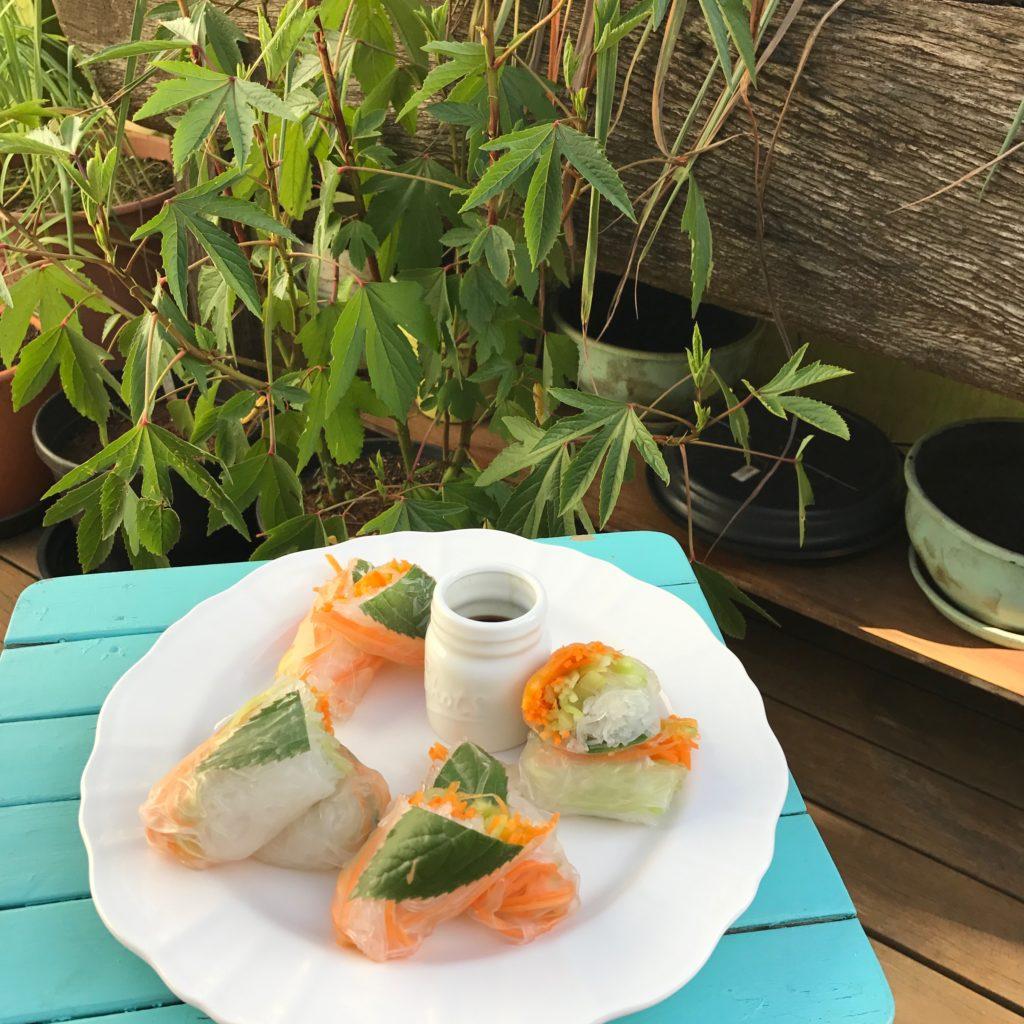 rolinhos de papel de arroz com verdurinhas crocantes