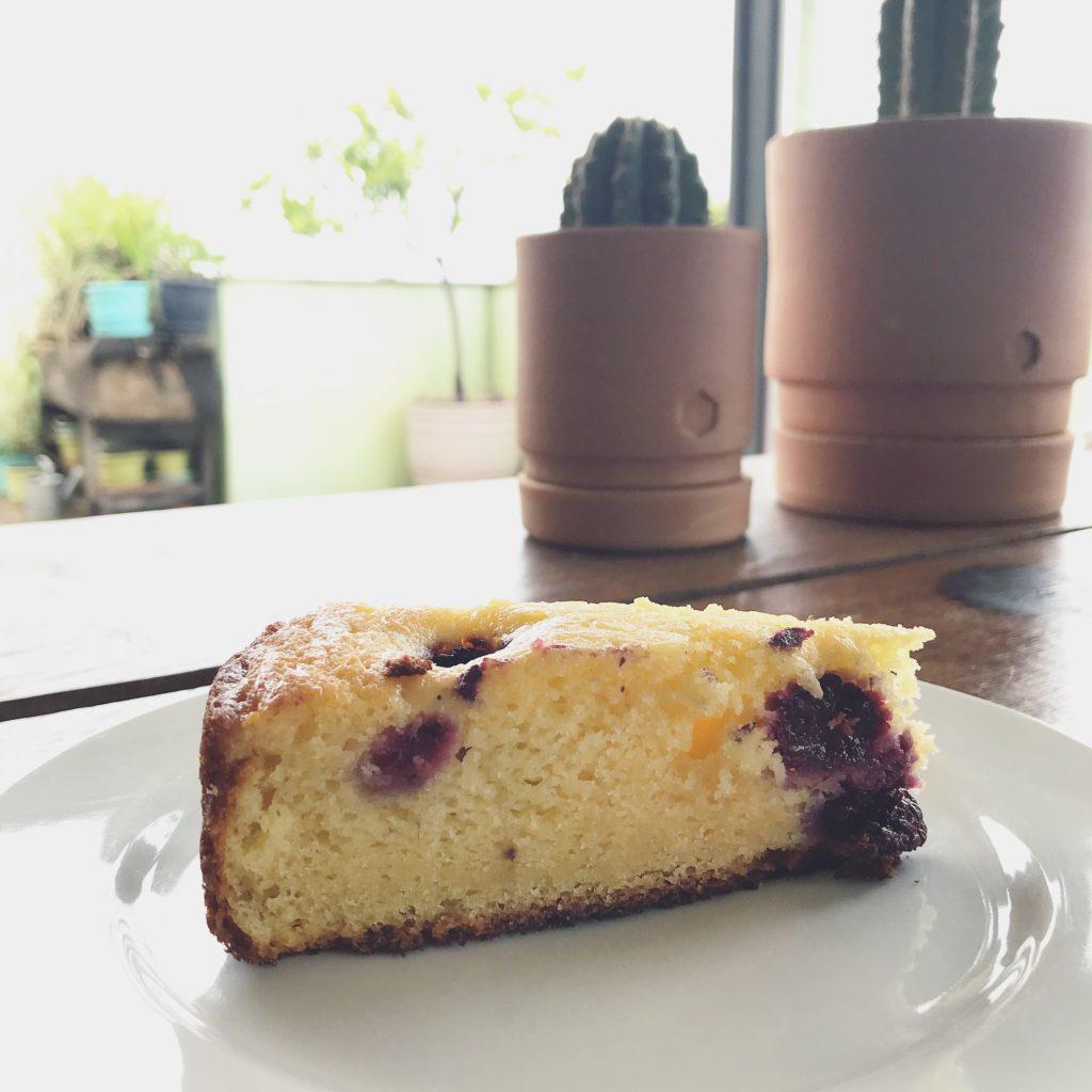 bolo de ricota caseira com amoras