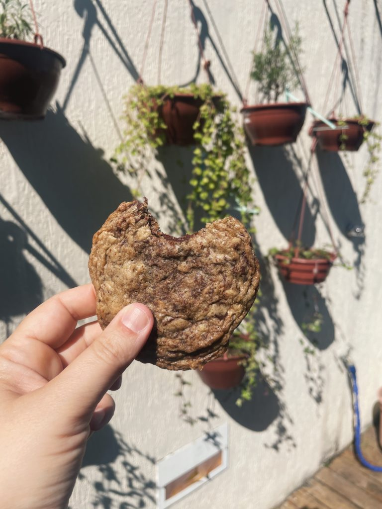 cookie de dois chocolates com aveia e canela